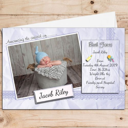 10 Personalised Baby Boy Birth Announcement Thank You PHOTO cards N109